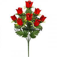 Искусственные цветы букет бутоны роз бархат на розетке, 50см