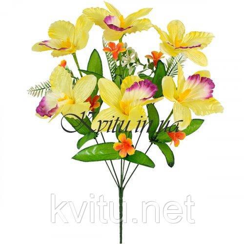 Искусственные цветы букет ирисы атласные с пластмассовыми колокольчиками, 46см
