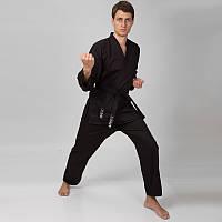 Кимоно для карате Matsa черное (хлопок,(160 170см), плотность 240г на м2)
