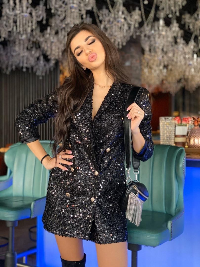 Женское платье - пиджак из пайеток с длинным рукавом tez7103398