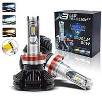 Комплект светодиодных LED ламп X3-H1 HeadLight 9-32V 6000LM 50W