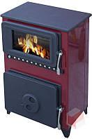 FILEX-H - ( Бордовая ) отопительно варочная печь камин на дровах , современная буржуйка ( изразцовая печь )