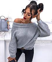 Вязаный объемный женский свитер универсального размера 42-46, фото 3