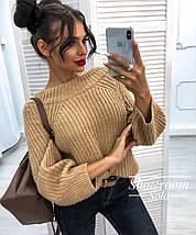 Вязаный объемный женский свитер универсального размера 42-46, фото 2