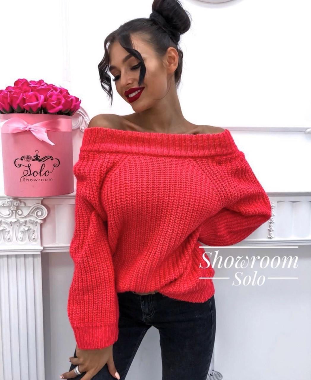 Вязаный объемный женский свитер универсального размера 42-46