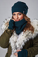 Комплект тройка шапка, снуд и митенки зимний на флисе цвет изумруд