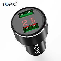 TOPK G209 автомобильное зарядное устройство 5V 3.1A c вольтметром и амперметром Black