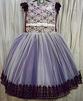 4.131 Необычное нарядное детское платье из гипюра цвета марсала на 4-5 лет
