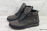 Мужские зимние ботинки на меху в стиле Ecco, натуральная кожа, натуральная шерсть, коричневые *** 42 (28 см)