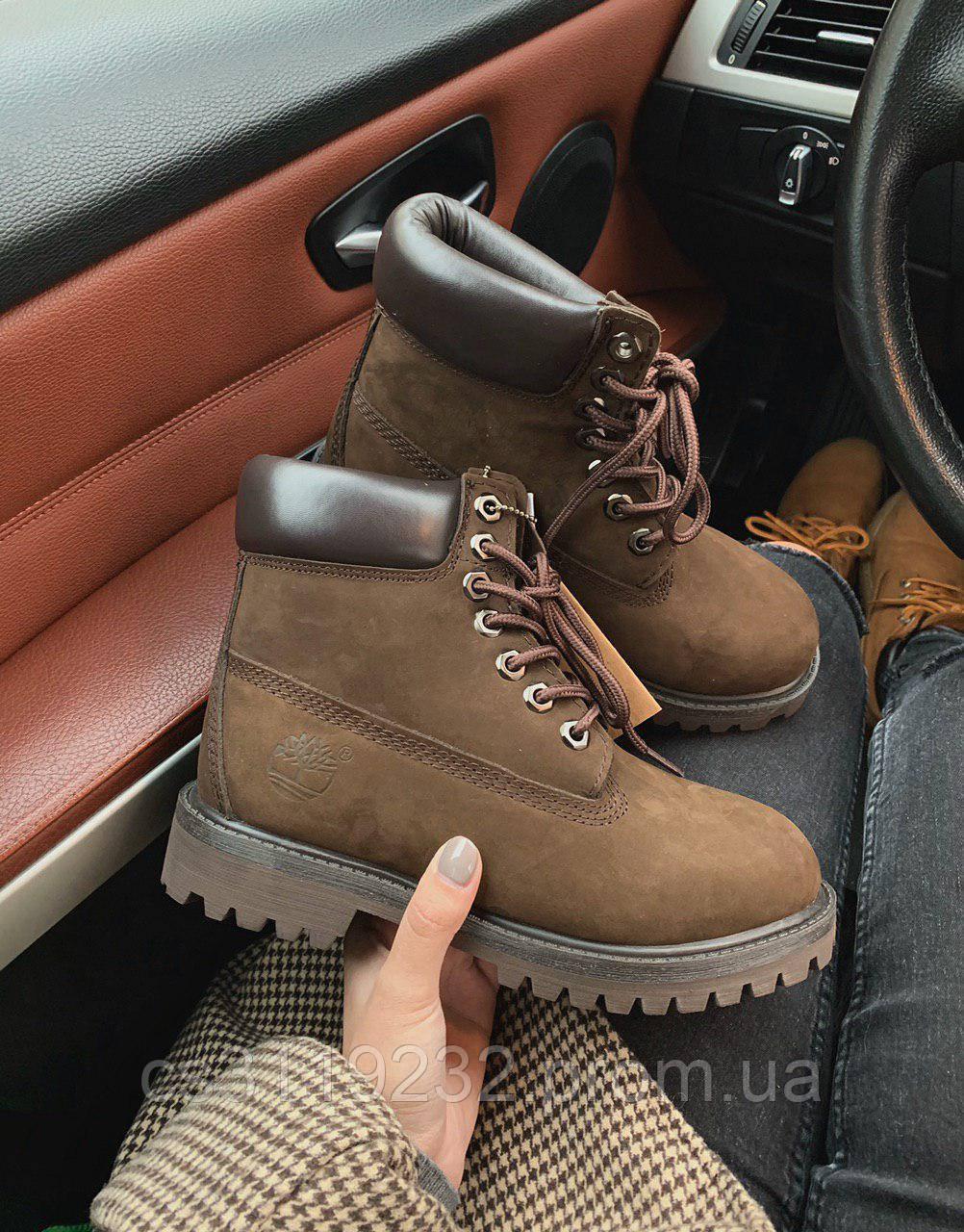 Женские ботинки зимние Timberland (мех) (коричневые)