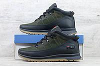 Мужские зимние ботинки на меху в стиле Fila, натуральная кожа, натуральная шерсть, черные с зеленым*** 40 (26 см)