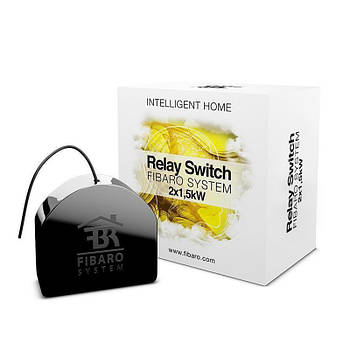 Реле Fibaro Relay Switch (FGS-222_ZW) 2x1.5kW, Z-Wave, 230V, 2 сухих контакта, Black