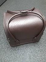 Бьюти кейс чемодан для мастера салонов красоты из кожзама на змейке лабиринт беж
