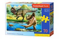Пазл Трицератопс против Тиранозавра 70 эл