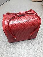 Бьюти кейс чемодан для мастера салонов красоты из кожзама на змейке красный ромб
