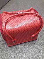 Бьюти кейс чемодан для мастера салонов красоты из кожзама на змейке малиновый ромб