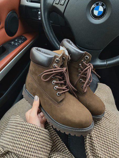 Женские зимние ботинки Timberland brown  МЕХ, два цвета