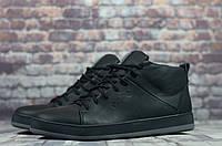 Мужские зимние ботинки на меху в стиле Ecco, натуральная кожа, натуральная шерсть, черные *** 41 (27 см)