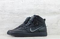 Мужские зимние кроссовки на меху в стиле Nike, натуральная кожа, натуральная шерсть, черные *** 40 (26 см)