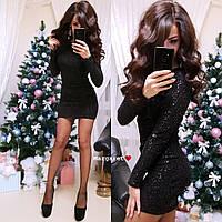 Женское короткое платье с пайетками,черного цвета