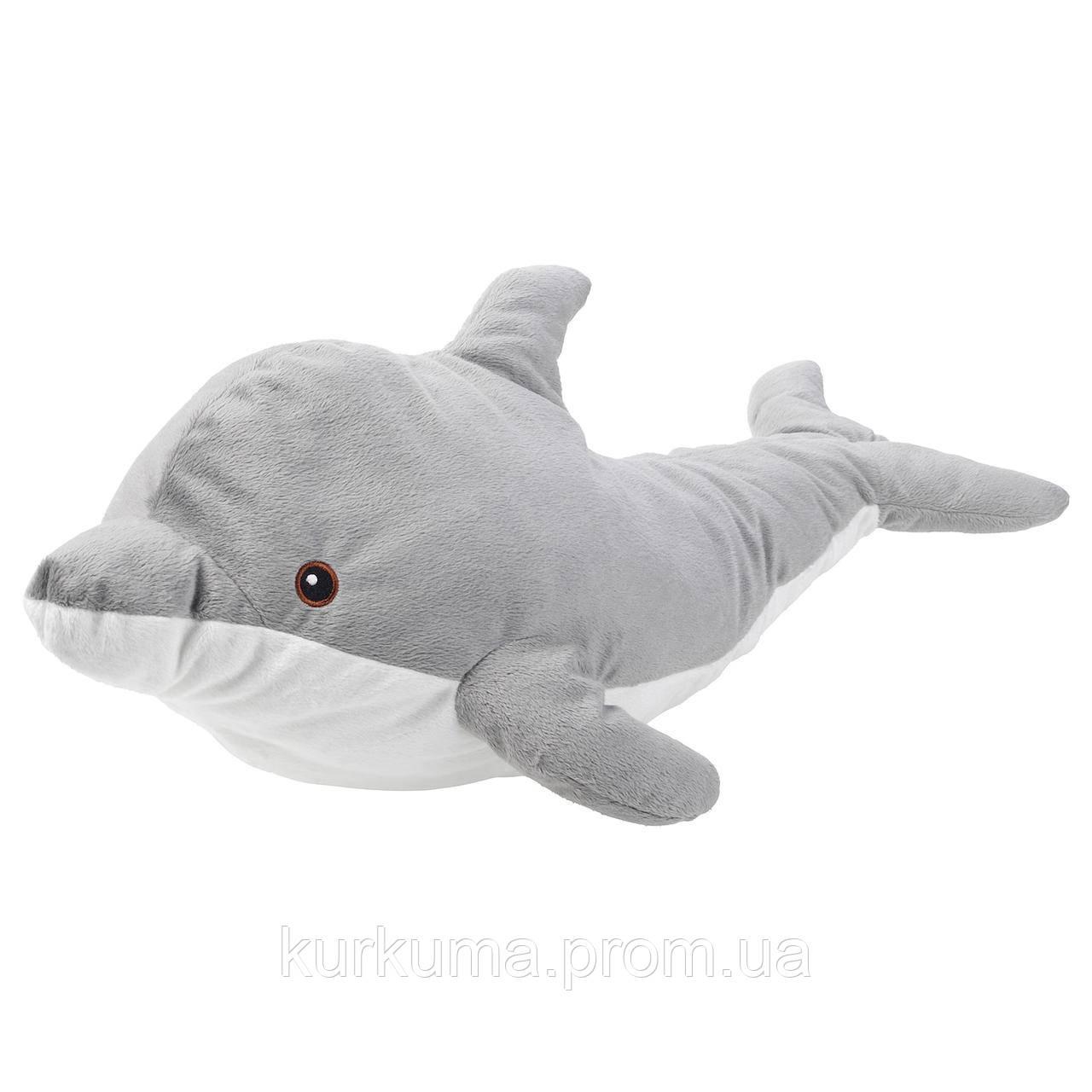 IKEA GENOMBLOT Мягкая игрушка, дельфин, 70 см (004.423.57)
