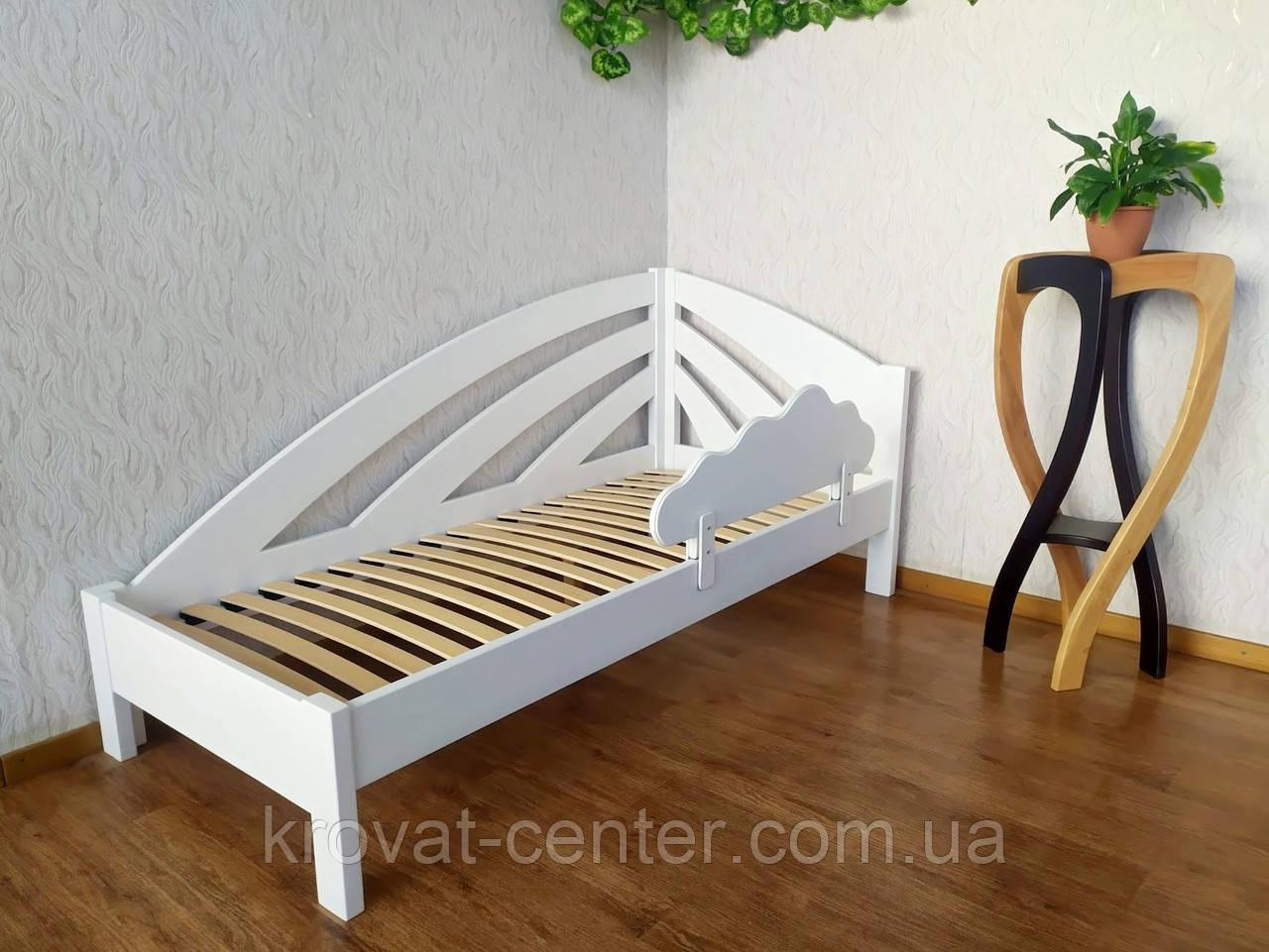 """Белая детская кровать с бортиком """"Радуга"""""""