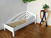 """Белая детская кровать из массива дерева с защитным бортиком """"Радуга"""" от производителя"""