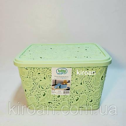 Пластиковая корзина ажурная с крышкой 5,5л (цвет салатовый) 26 х 20 х 16 см, фото 2