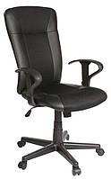 Кресло офисное на колесиках черное кожаное с ручками