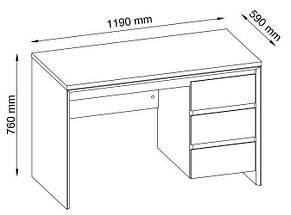 Письменный стол с 3-мя ящиками, цвет дуб, фото 2
