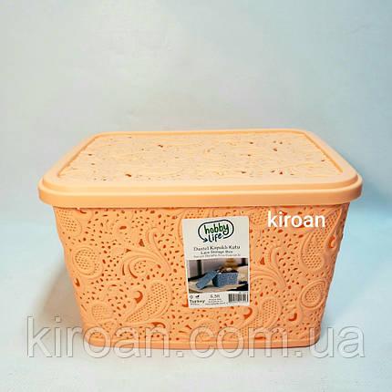 Пластиковая корзина ажурная с крышкой 5,5л (цвет персик) 26 х 20 х 16 см, фото 2