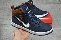 Мужские зимние ботинки на меху в стиле Nike, натуральная кожа, натуральная шерсть, синие *** 40 (26 см)