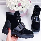 23,5 см Ботинки женские зимние черные замшевые на низком ходу, из натуральной замши, натуральная замша