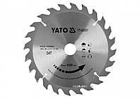 Диск пильный победитовый по дереву : 160x20x2.2x1.5 мм, 24 зубца, R. P. M до 9500 1/мин YaTo YT-60551