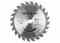 Диск пильный победитовый по дереву : 165x16x2.2x1.5 мм, 24 зубца, R. P. M до 9500 1/мин YaTo YT-60590