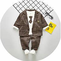 Нарядный костюм мальчику коричневый Разм.:98 см