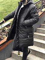 Молодежная удлиненная зимняя куртка с капюшоном утеплитель Тинсулейт непромокаемая