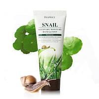 Крем для рук и ног с муцином улитки Deoproce Moisture Hand & Body Snail Recovery