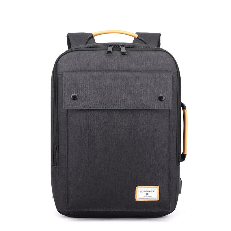 Тканевый рюкзак трансформер 2в1 Golden Wolf GB00368 для ноутбука до 15,6, USB портом и тремя отделениями, 20л