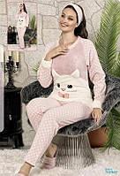 Тёплая молодёжная махровая пижама с повязкой S, M, L, Xl