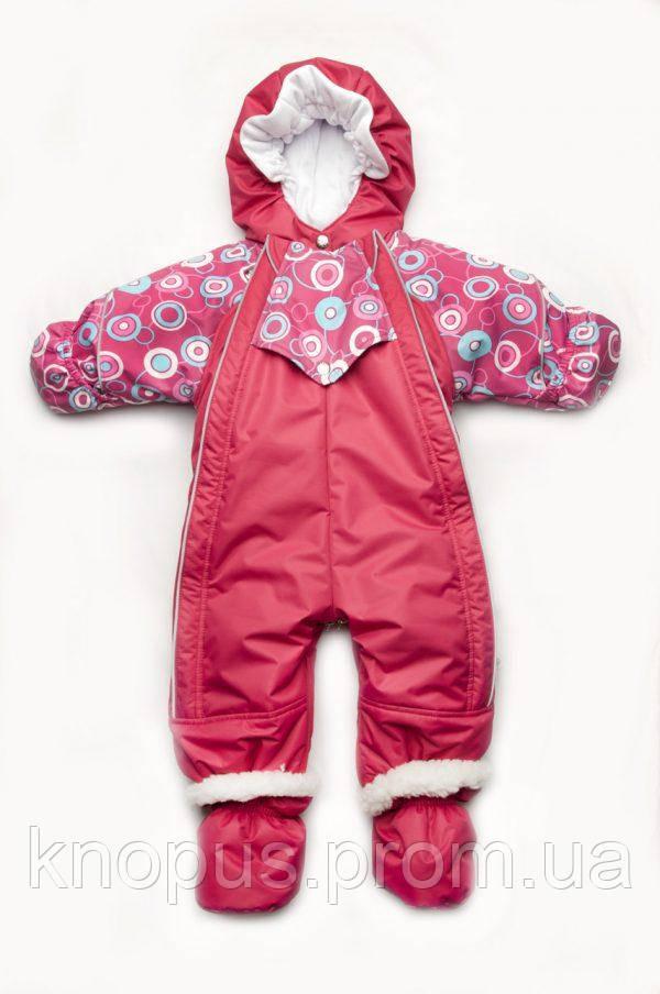 Детский зимний комбинезон-трансформер с отстегивающимся мехом для девочки, Модный карапуз
