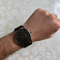 Мужские наручные часы искусственная кожа с датой черные с черным