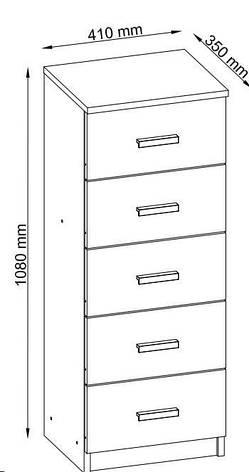 Комод узкий с 5-мя выдвижным ящиком, цвет матовий дуб, фото 3