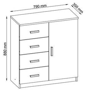Комод с одной дверью и 4-мя выдвижными ящиками, цвет белый, фото 2