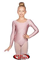 Купальник для хореографии детский, пудра GM030132 (бифлекс, р-р 1-M, рост 98-134см)