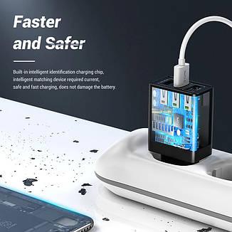 Оригінальне мережевий зарядний пристрій TOPK B348Q на 3 USB порту Quick Charge 3.0 Black, фото 2