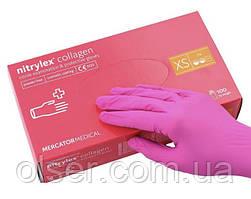 Рукавички нітрилові неопудрені Nitrylex PF Collagen, колір фуксія XS