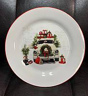 Набор из 6 новогодних, керамических тарелок 358-948-6