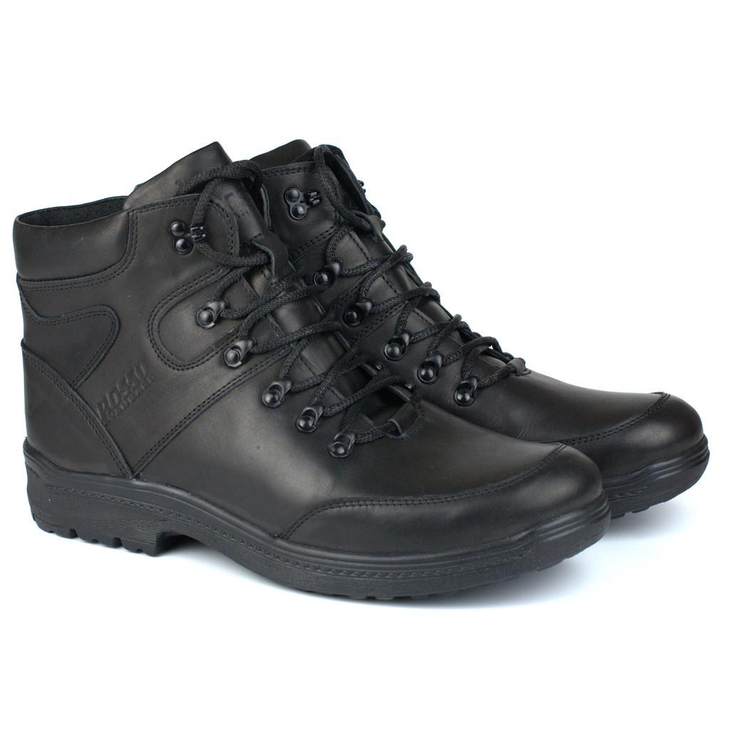 Кожаные зимние мужские черные ботинки Rosso Avangard Lomerback Black Leather