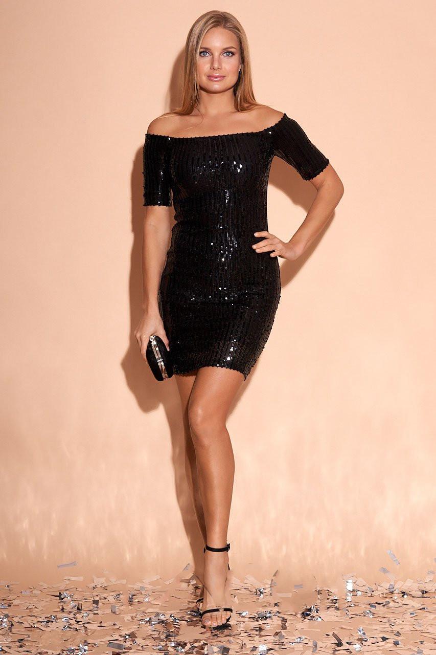 Облегающее платье с пайетками Мишель с открытыми плечами